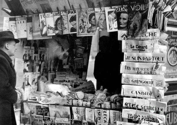 Wall Art - Photograph - Newspaper Kiosk In Paris In The Thirties  by French School
