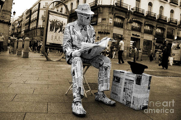 Busker Wall Art - Photograph - Newspaper Man by Rob Hawkins