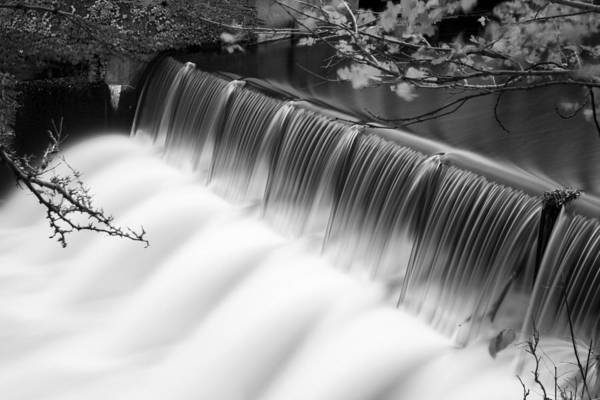 Photograph - Newton Upper Falls Autumn Waterfall Black And White by Toby McGuire