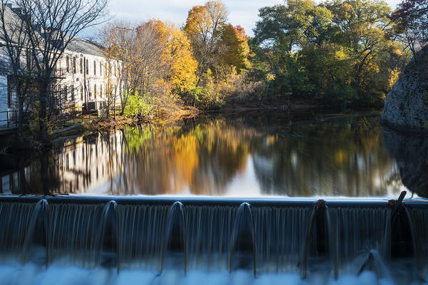 Photograph - Newton Upper Falls Autumn Waterfall Reflection by Toby McGuire