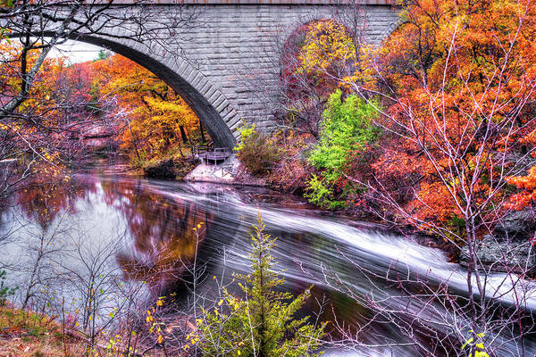 Photograph - Newton Upper Falls Bridge Autumn by Toby McGuire
