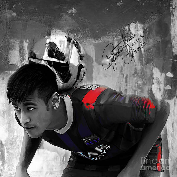 Wall Art - Painting - Neymar 02 by Gull G
