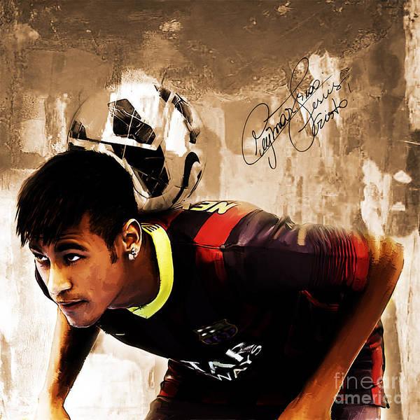 Wall Art - Painting - Neymar 02b by Gull G