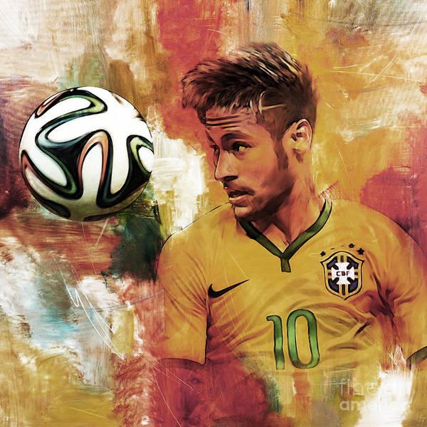 Wall Art - Painting - Neymar 05d by Gull G