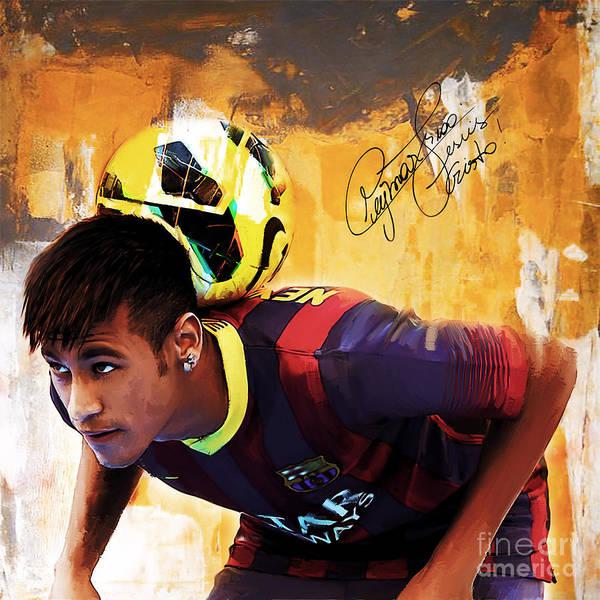 Wall Art - Painting - Neymar 1a by Gull G