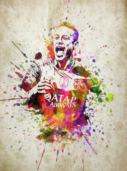 Barcelona Digital Art - Neymar In Color by Aged Pixel