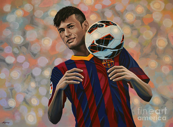 Stadium Painting - Neymar by Paul Meijering