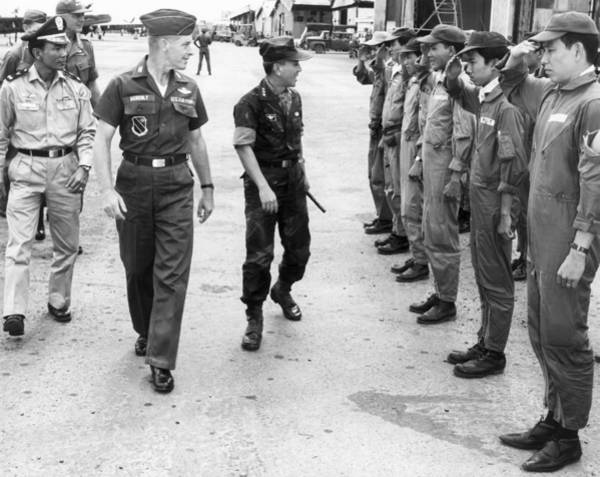 Photograph - Nguyen Van Thieu On Base Tour by Underwood Archives