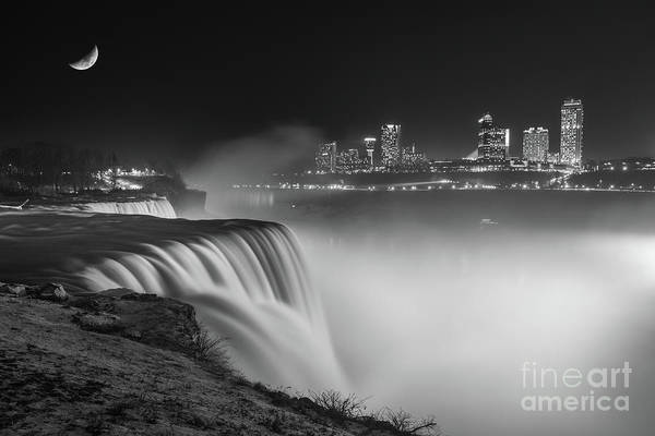 Photograph - Niagara Falls At Night Bw by Michael Ver Sprill