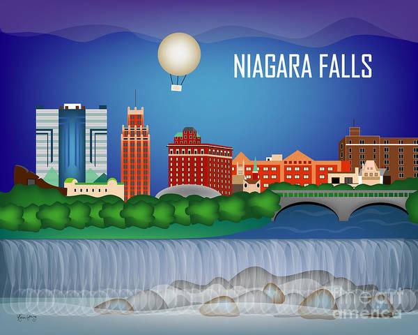 Wall Art - Digital Art - Niagara Falls New York Horizontal Skyline by Karen Young