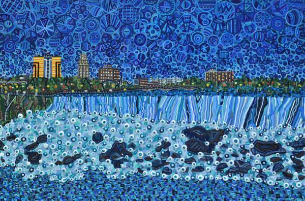 Wall Art - Painting - Niagara Falls - Night by Micah Mullen
