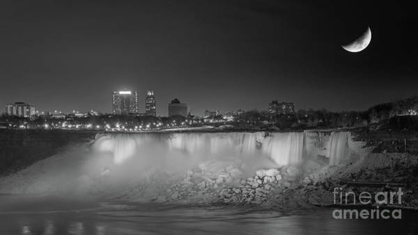 Photograph - Niagara Falls Under The Moon Bw by Michael Ver Sprill
