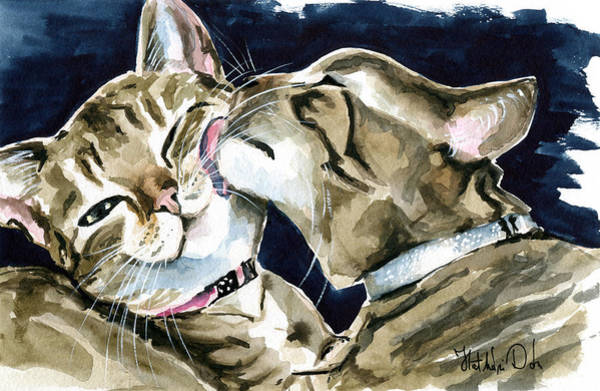 Painting - Nice And Clean - Tabby Cat Painting by Dora Hathazi Mendes