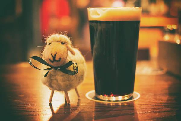 Wall Art - Photograph - Nice Toy Sheep And A Beer Pint by Oksana Bystritskaya