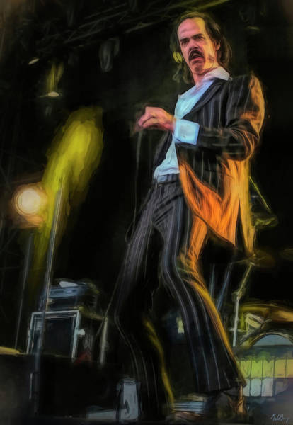 Wall Art - Mixed Media - Nick Cave In Concert by Mal Bray