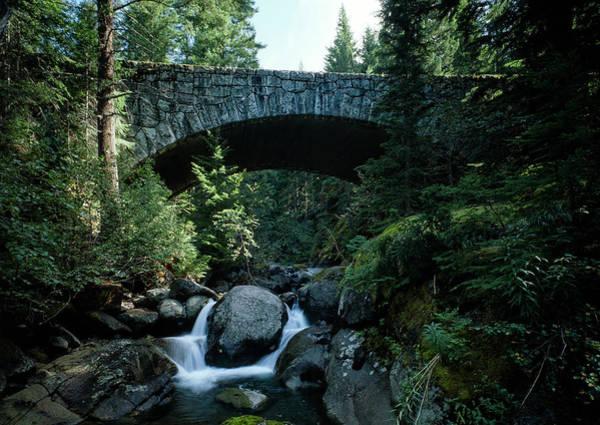 Wall Art - Photograph - Nickel Creek Bridge - Mt Rainier by Daniel Hagerman