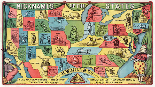 Drawing - Nicknames Of The States by HW Hill and Co