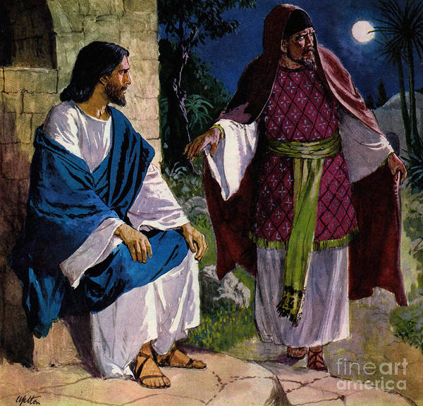 Wall Art - Painting - Nicodemus Coming To Jesus Christ by Clive Uptton