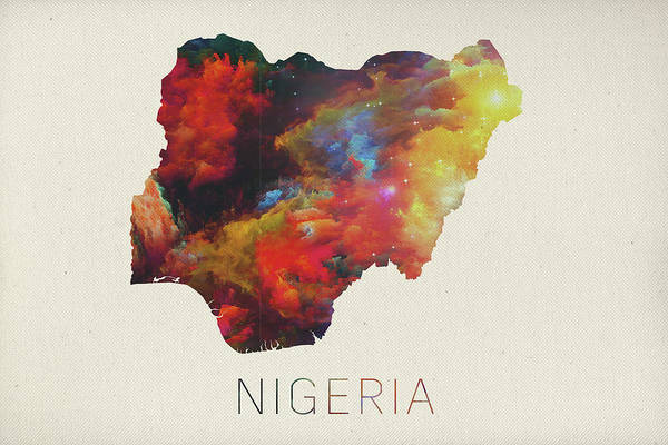 Nigeria Wall Art - Mixed Media - Nigeria Watercolor Map by Design Turnpike