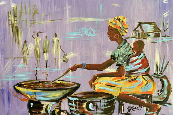 Nigeria Painting - Nigerian Street Food Seller by John Bernards