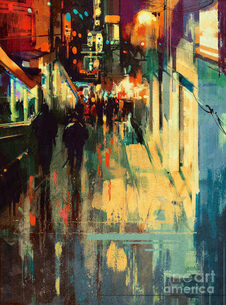 Art Print featuring the painting Night Alleyway by Tithi Luadthong