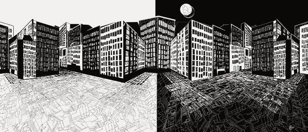 Drawing - Night And Day Manhattan  by Cecely Bloom