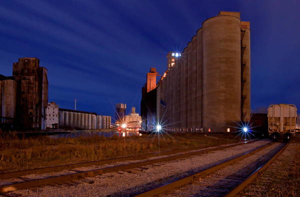 Grain Elevator Photograph - Night At Elevator Alley by Don Nieman
