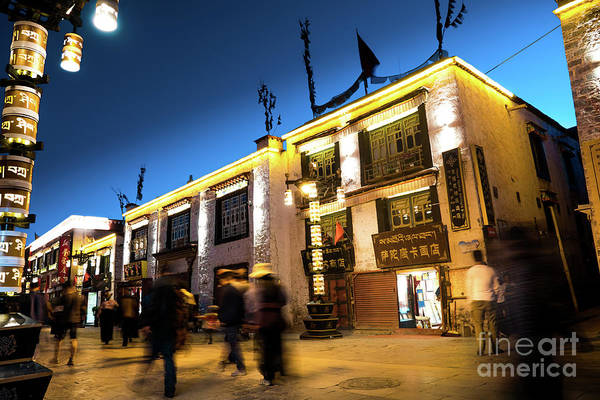 Photograph - Night At Jokhang Temple Lhasa Kora Tibet Artmif.lv by Raimond Klavins