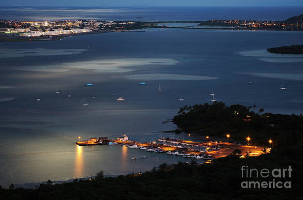 Photograph - Night At Kaneohe Bay And Heeia Pier by Charmian Vistaunet