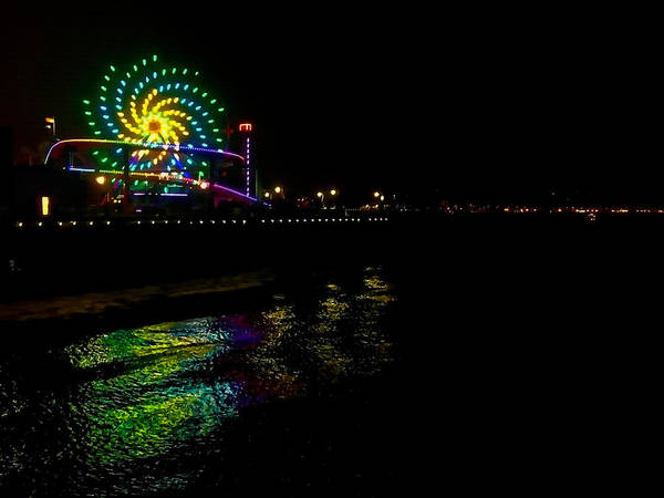 Pier 66 Photograph - Night At Santa Monica Pier by Art Block Collections