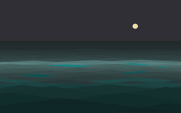 Digital Art - Night At Sea by Val Arie
