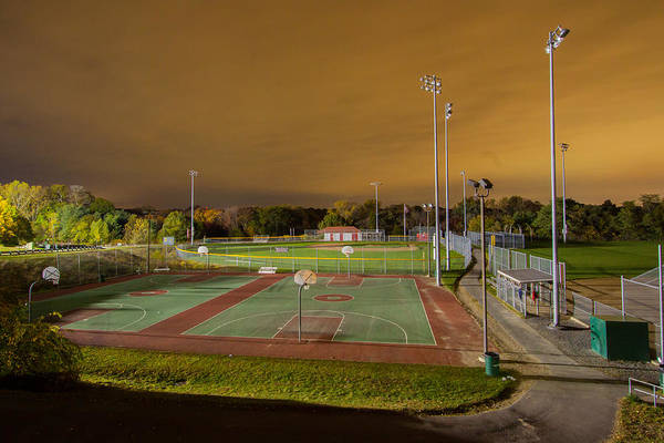Night At The High School Basketball Court Art Print