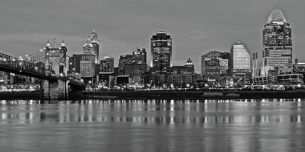 Wall Art - Photograph - Night Black And White Of Cinci 2016 by Frozen in Time Fine Art Photography