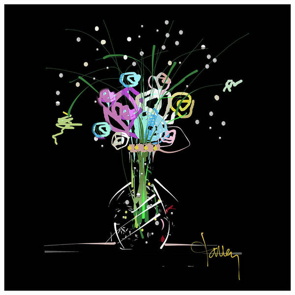 Mixed Media - Night Bouquet by Larry Talley