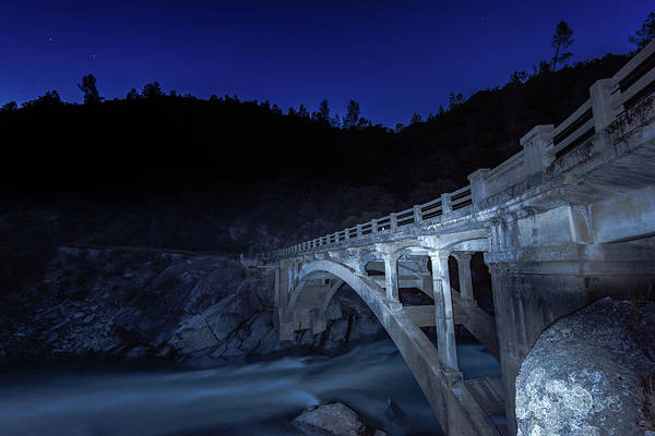 Yuba River Photograph - Night Bridge by Robin Mayoff