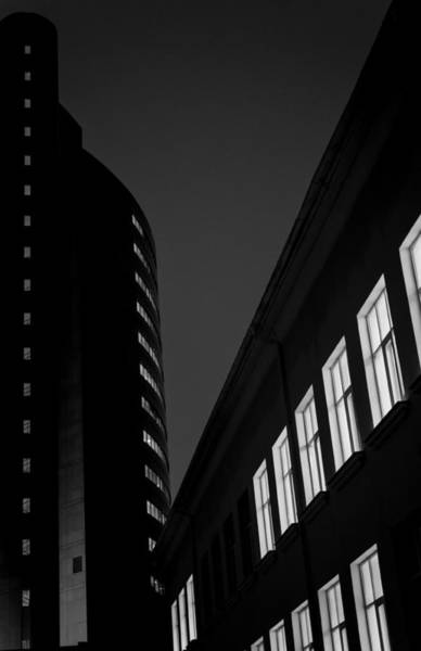 Photograph - Night Building Abstract In Black And White by John Williams