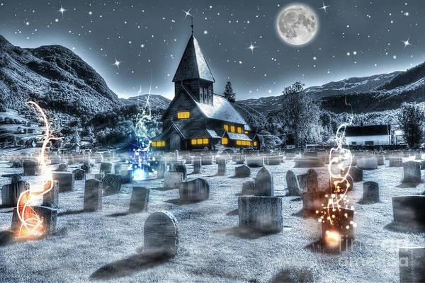 Digital Art - Night Cemetery by Benny Marty