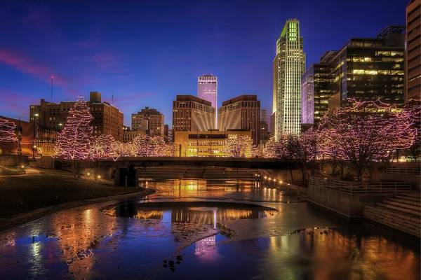 Nebraska Photograph - Night Cityscape - Omaha - Nebraska by Nikolyn McDonald