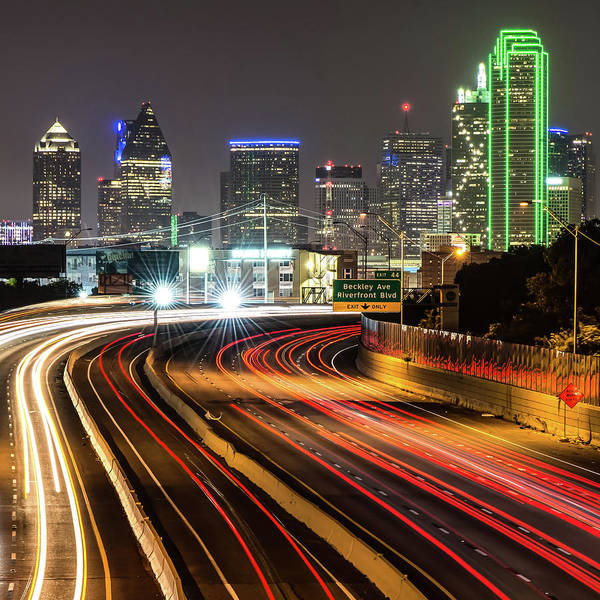 Photograph - Night Dallas Skyline Square Format by Gregory Ballos
