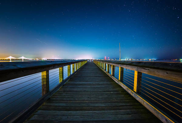 Photograph - Night Dock Charleston Sc by Donnie Whitaker