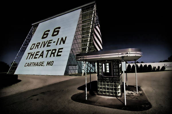 Photograph - Night Fall At Route 66 Drive-in by Patricia Montgomery