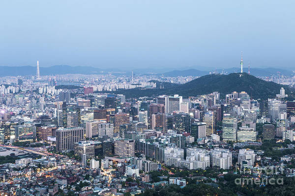 Photograph - Night Falls Above The Seoul, South Korea Capital City by Didier Marti