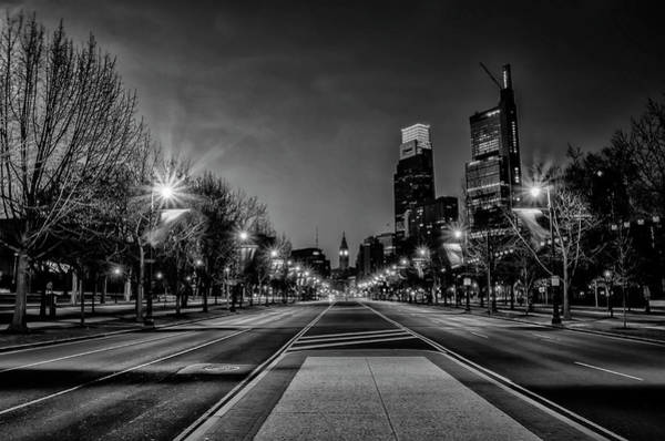 Wall Art - Photograph - Night Falls On The City - Philadelphia - Black And White by Bill Cannon