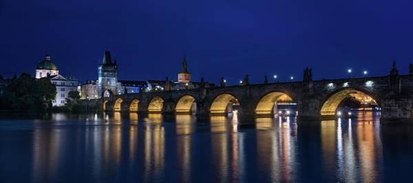 Wall Art - Photograph - Night Falls Over Charles Bridge Prague Czech Republic by Steve Gadomski