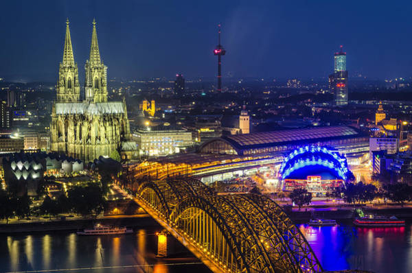 Wall Art - Photograph - Night Falls Upon Cologne 2 by Pablo Lopez
