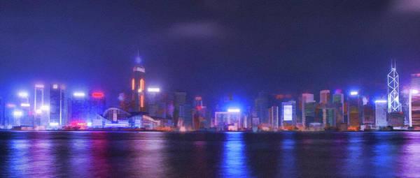 Neon Lights Mixed Media - Night Hong Kong by Mariia Kalinichenko