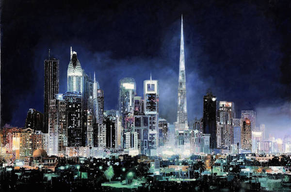 Light Green Painting - night in Dubai City by Guido Borelli