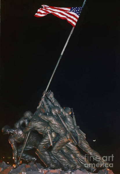Hackett Photograph - Night - Iwo Jima - Memorial by D Hackett