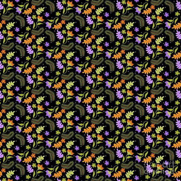 Wall Art - Digital Art - Night Leaves Pattern by Claire Huntley