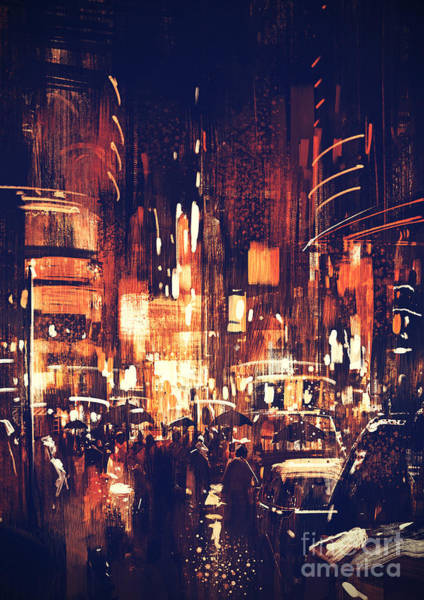 Art Print featuring the painting Night Life by Tithi Luadthong